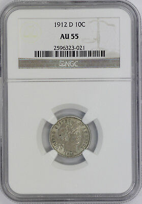 1912 D Barber Silver Dime US Coin NGC AU55 Almost Uncirculated