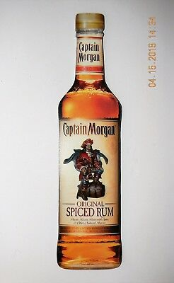 "Captain Morgan Spiced Rum Wooden Sign ~ 3D Pirate on Front ~ 17-1/4"" X 4-1/4"""