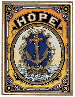"""Antique label """"Hope"""" nautical theme, anchor with ships on ocean. Hope Fabric Co"""