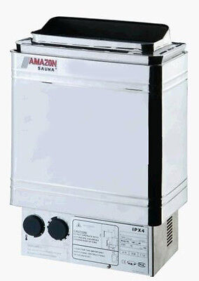 6KW COASTS AMAZON UPSCALE STAINLESS STEEL SAUNA HEATER STOVE @ Top Grade !