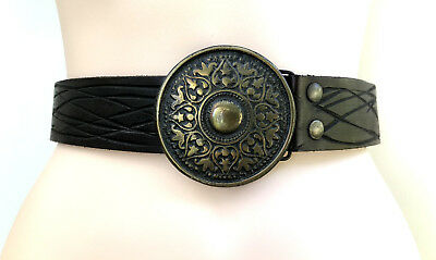 BELT Handcraft Vintage Styled Boho Tooled Brass Buckle Brown Leather sz M/L VGC