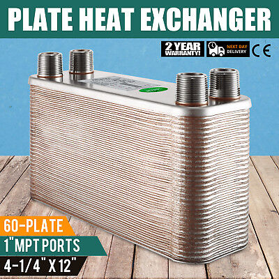 "60 Plate Water to Water Brazed Plate Heat Exchanger 1"" male Fixture Furnace"
