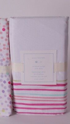 NWT Pottery Barn Kids Rainbow stripe crib skirt nursery