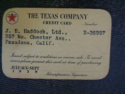1938 Texas Company (Texaco) Credit Card  Issued to owner of Haddock Ltd So. Cal