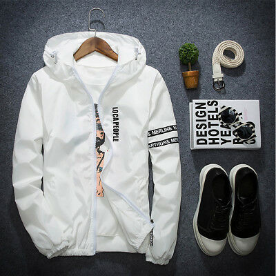 Men's Thin Windbreaker Slim Casual Jacket Hooded Coat Hoodie Zipper Up Overcoat