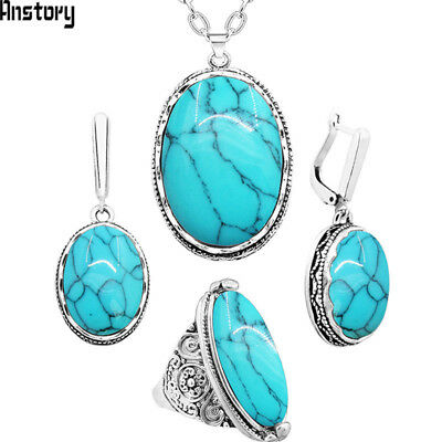 Oval Natural Stone Jewelry Set Choker Necklace Earrings Rings For Women Hollow F