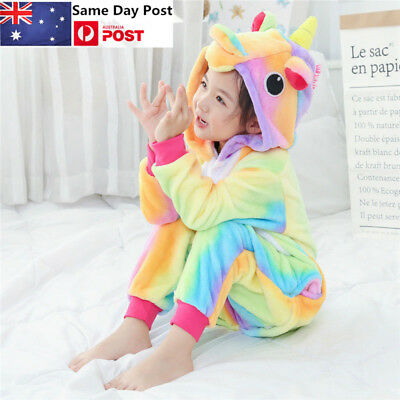 AU Kid Rainbow Unicorn Kigurumi Oneesie Pajamas Sleepwear Animal Cosplay Costume