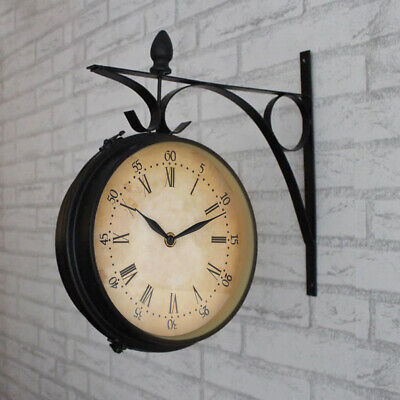 Outdoor Garden Kensington London Wall Clock Outside Bracket 20cm Double Sided