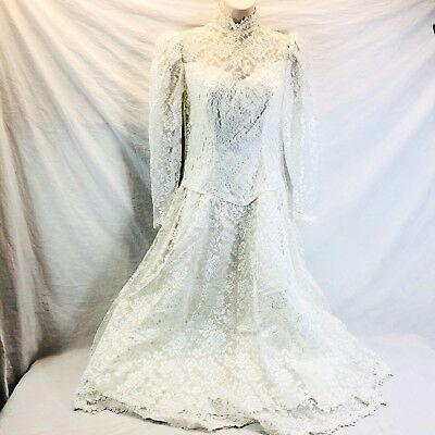Vintage 80s LACE UNION PAPER TAG White Lace Wedding Dress size S Small Medium