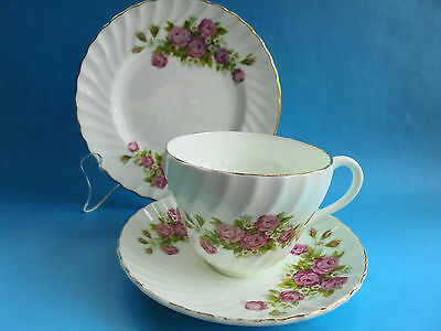 Pink Roses Trio Tea Cup Saucer & Plate High Tea England Crown Staffordshire