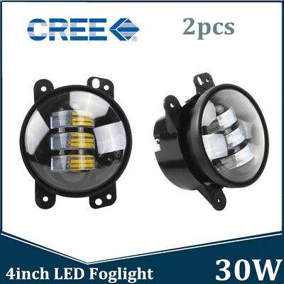 2x 4inch 30W CREE LED Round Fog Lights Driving Lamp for Jeep Wrangler JK 07-18