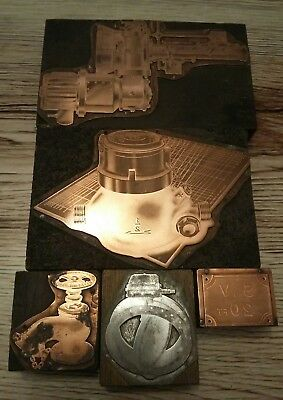 Vintage Copper Print Plates Depicting Industrial Items