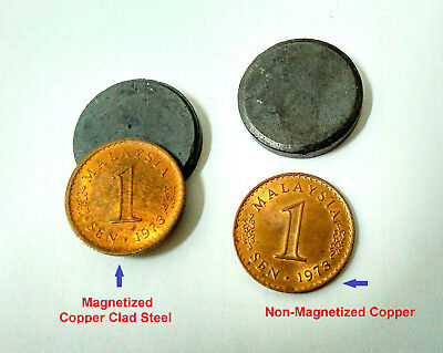 1973 Malaysia Parliament 1 Cent Copper Clad Steel Vs Copper Coins Pair