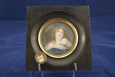 † St Mary Magdalene Penitent Reliquary + Miniature Signed Hand Painting France †