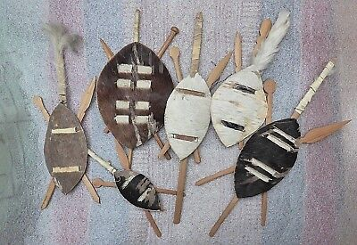 Collection 6 various miniature decorative South African tribal art Zulu shields!
