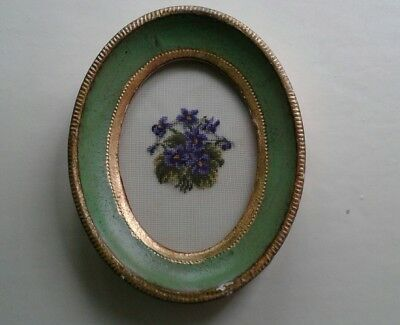 Vintage French framed petit pointe embroidery of violets.