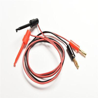 Banana Plug To Test Hook Clip Probe Lead Cable For Multimeter 2pcs RP