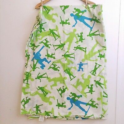 Disney Toy Story Twin Bed Flat Sheet Green Army Men Soldier White Blue Fabric D1