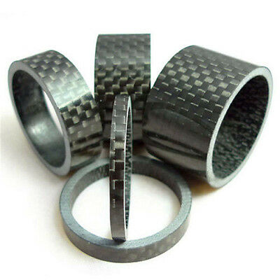 "5Pcs Bicycle Handle Bar Stem Carbon Fiber Gloss Spacer 1-1/8"" 3/5/10/15/20mm RP"