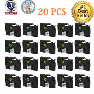 20 Pack Black on White Label Tape 12mm For Brother TZ 231 TZe 231 P-Touch OY