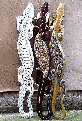 Amazing Coloured Wooden LIZARD Large 100 cm OR Small 50cm Wall New Decoration