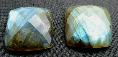 2 x Natural Labradorite Faceted 35 Cts. Cushion Shape Size 18mm Gemstone