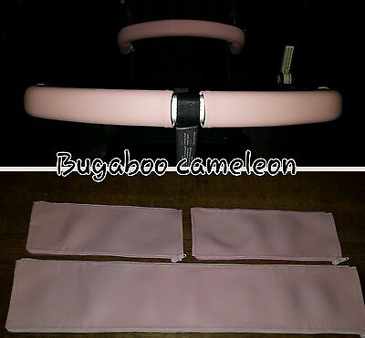 Bugaboo Cameleon 1 2 faux leather zip on handle bar and bumper bar in SOFT PINK