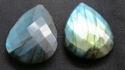 2 x Natural Labradorite Faceted 55 Cts. Teardrop Shape Size 30mm Gemstone