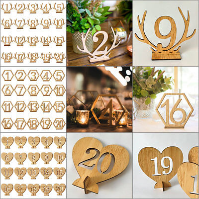 1-20 Wooden Table Numbers Card Set with Base Birthday Wedding Party Decor Gifts