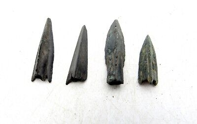 Lot Of 4 Ancient Scythian Bronze Arrow Heads - Ancient Historical Artifacts D57