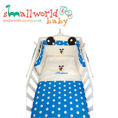 Personalised Boys Mickey Mouse Cot Cotbed Bedding (NEXT DAY DISPATCH)