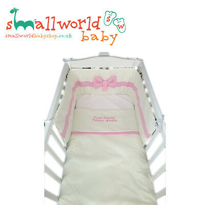 Personalised Girls Cream And Pink Cot Cotbed Bedding (NEXT DAY DISPATCH)
