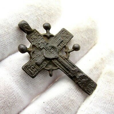 Late Medieval Radiate Bronze Cross Pendant - Superb Artifact Wearable - D63