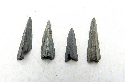 Lot Of 4 Ancient Scythian Bronze Arrow Heads - Ancient Historical Artifacts D58