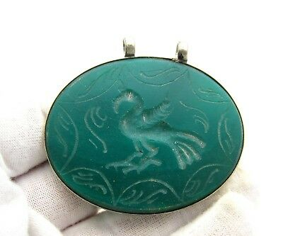 Post Medieval Silver Pendant W Carved Green Carnelian Depicting Swan - D59