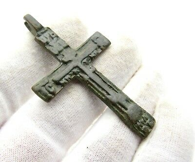 Late / Post Medieval Bronze Cross Pendant - Rare Wearable Artifact Great D64