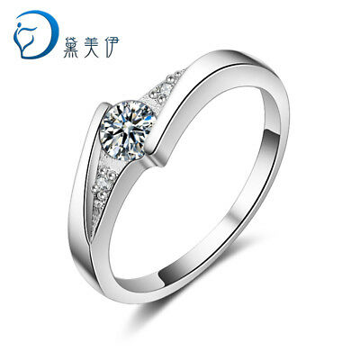 Wedding Jewelry 925 Sterling Silver Crystal Ring Design For Women Gift Size 6-9
