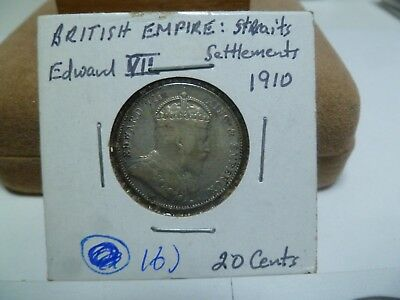 1910 Straights Settlement 20 Cent Silver