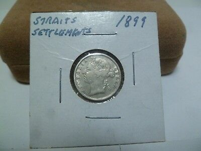 1899 Straights Settlement 10 Cent Silver Coin
