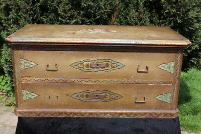 18th Century (1754) Swiss painted wooden dowry chest. 2 drawers, hinged lid.