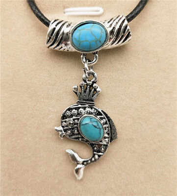 Fashion Jewelry Antique Silver Turquoise Pendant  Rhinestone Necklace Gift L05