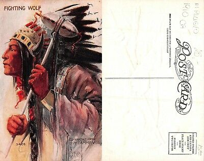 USA indian Chief capi indiani FIGHTING WOLF LITHO EMBOSSED year 1910 ca(R-L 179)