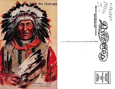 USA indian Chief capi indiani BIG FEATHER LITHO EMBOSSED year 1910 ca(R-L 179)