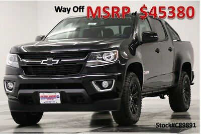 Chevrolet Colorado MSRP$45380 Z71 Midnight Edition GPS Black Crew 4WD New Navigation Heated Seats Camera Bluetooth 16 2017 17 18 Blacked Out Cab V6