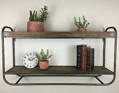 Industrial Metal 2 Tier Wall Mounted Shelving Unit Rustic Wooden Tray Shelves