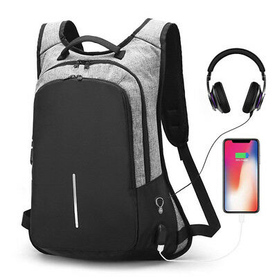 Anti-Theft Men Women Travel Backpack External USB Charge Port Laptop School Bag