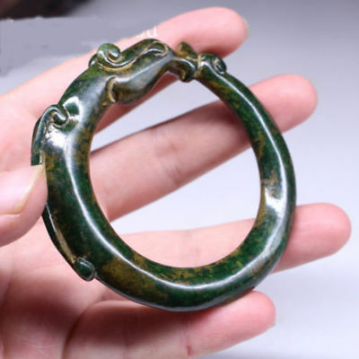 Collection Chinese antique bangle hand-carved old jade dragon bracelet