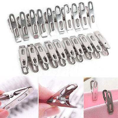 Stainless Steel Washing Line Clothes Pegs Hang Pins Clips Windproof Clamps RP