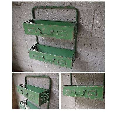 Green Painted Metal Industrial 2 Tier Wall Mounted Shelf Unit Storage Display
