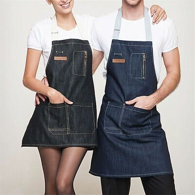 Kitchen cooking Denim apron for Woman and man Restaurant work apron Pinafores Ta